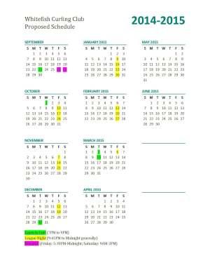 2014 - 2015 Curling Schedule